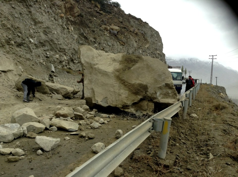 Road Block at Hassanabad