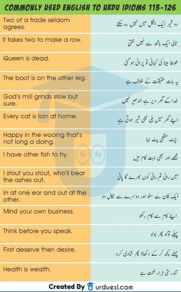 140 Urdu Proverbs & Idioms With English Translation - Urdu Muhavare