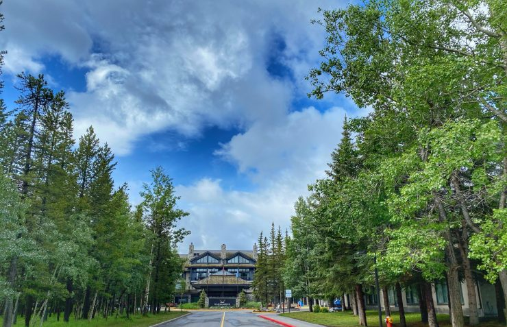 the entrance of Kananaskis Mountain Lodge