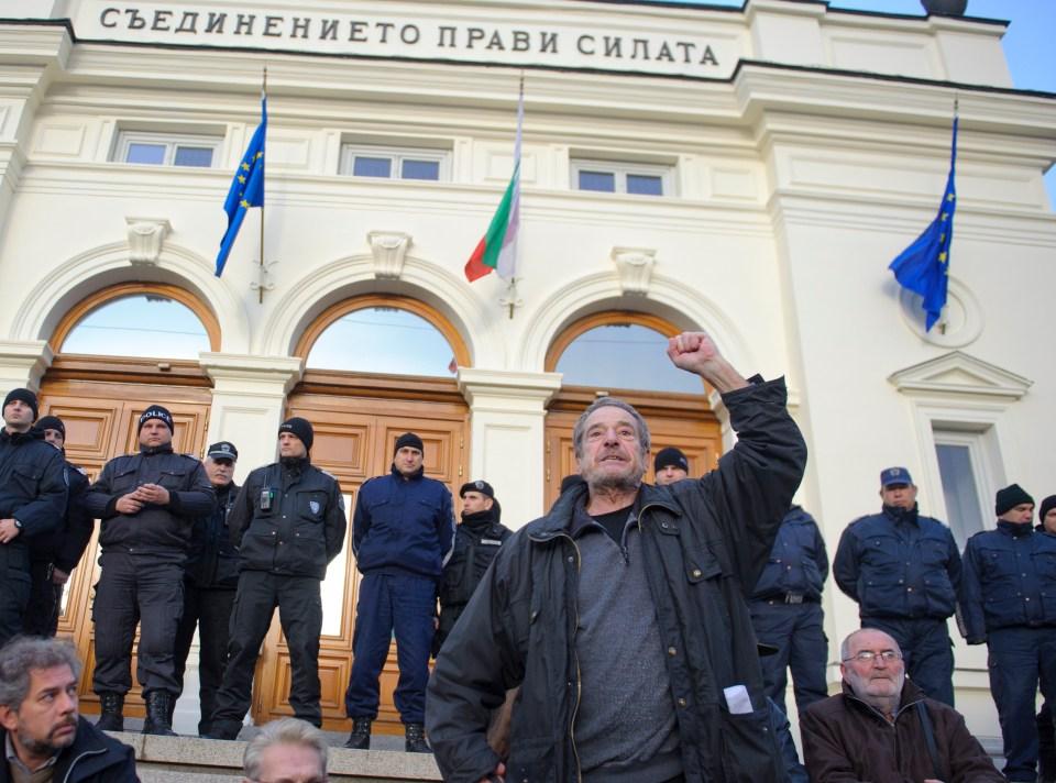 Протестът на актьори и студенти срещу назначението на Слави Бинев. Снимка: БГНЕС