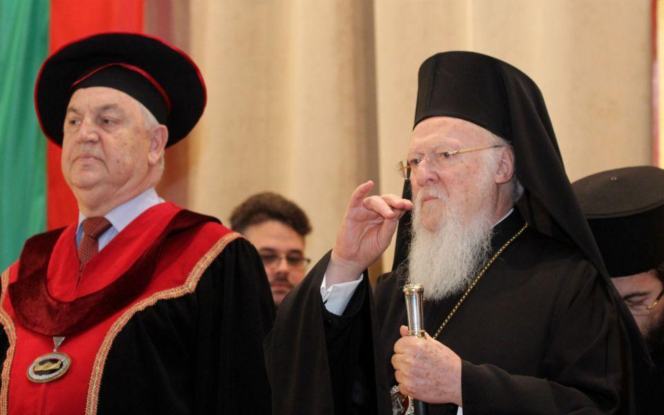 Шефът на БАН акад. Стефан Воденичаров и Вселенският патриарх