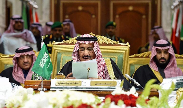 Саудитският крал Салман бин Абдул Азиз Ал Сауд на откриването на Съвета за сътрудничество в Залива (GCC) в Рияд ©EPA/БГНЕС