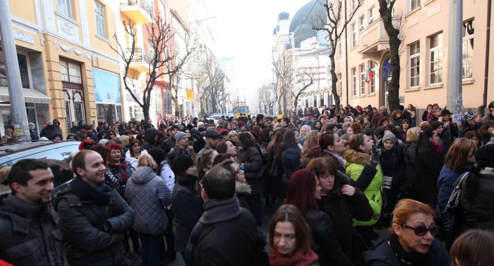 Протестът на съдиите пред ВСС. Снимка: БГНЕС
