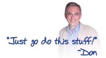 """Bild på Don Crowther och en magisk formel """"Just go do this stuff"""""""