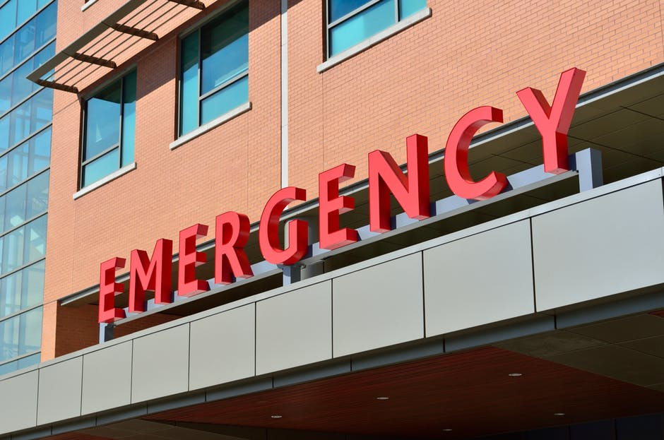 Emergency room sign on building