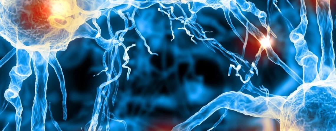 Illustration einer Nervenzelle auf farbigem Hintergrund mit Lichteffekten