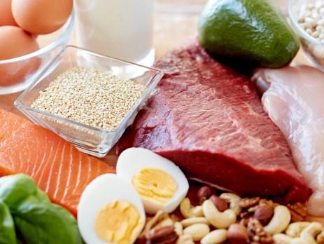 Beliebte tierische Lebensmittel mit hoher Nährstoffdichte für Vitamin B12: Lachs, Rindlfleisch, Ei, Geflügel und Milch