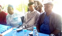 (L-R) Chief Sefia, Obarisi Ovie Omo-Agege and Chief Tom Amioku during Omo- Agege consultation with Urhobo Political Congress (UPC) on his governorship ambition