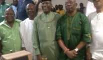 (L-R) Majority Leader Delta House of Assembly, Non Monday Egbuya, an Executive of UPF,Obarisi (Barr) Ovie Omo-Agege, Chairman UPF Chief Ighoyota Amori and Hon A.P. Fovie Chairman BOT of UPF during Omo-Agege visist