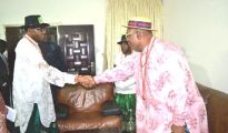 APC Presidential candidate, Gen Mohammadu Buhari exchanging pleasantry with Urhobo Progress Union President General Chief Joe Omene