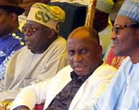 Mr Rotimi Amaechi sitting between Bola Tinubu and President Muhammadu Buhari when the going was good