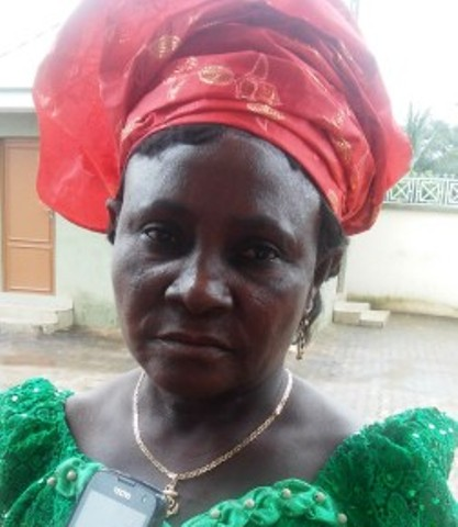 Mrs. Regina Ovie, a widow who son was allegdlly banished   from Sapele, for refusing to join withe ladder cult group