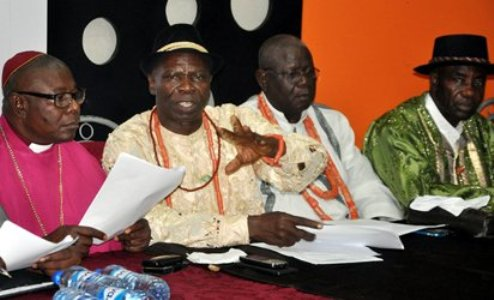 From left— National Director, Clergymen of Host Communities of Nigeria Producing Oil and Gas, HOSTCOM, Primate Dr. Moses Ogbodogbo; National Chairman, Prince Mike Emuh; Edo State Chairman, HOSTCOM, Prince Sam Igbineweka, and Bayelsa State Chairman, HOSTCOM, Chief Bob Nabena, at the briefing on modal refineries, oil pipeline surveillance and gas flaring, in Abuja, yesterday