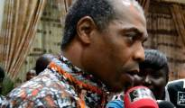 Femi Kuti speaking with journalists during this year's Felabration ceremony in Ikeja, the Lagos state capital