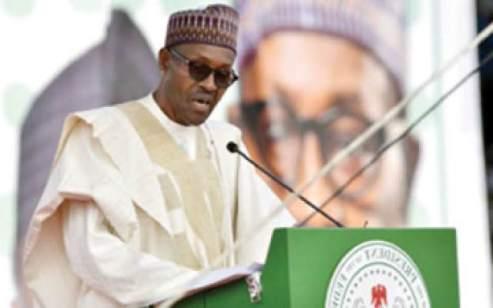 President Muhammadu Buhari reading  his independence speech