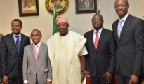 L-R Corporate Relations Director, Mr. Sesan Sobowale, Managing Director/ Chief Executive Officer, Mr. Peter Ndegwa, both of Guinness Nigeria Plc, Executive Governor, Lagos State, Mr. Akinwunmi Ambode, Special Adviser to the Governor on Overseas Affairs and Investment, Prof. Ademola Abass, and Supply Chain Director, Guinness Nigeria, Mr. Cephas Afebuameh during a courtsey visit to the governor by the Guinness Nigeria Plc team at the Lagos House, Alausa, Ikeja.
