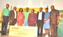 Winners of the 14th edition of the NNPC/SNEPCo music competition; L-R: Music Co-ordinator,  Murtala Mohammed Airport Secondary School, Mr. Okedeji James; Head, Business Relations, Shell Nigeria Exploration & Production Company Limited (SNEPCo), Mr. Alan Udi; Supervisor, Community Development, National Petroleum Investment Management Services (NAPIMS), Mrs Bunmi Lawson; a student of Murtala Mohammed Airport Secondary School , Leonard Idowu-Dawodu; representative of the wife of the Governor of Lagos State, Mrs Jumoke Adeyemi; Pianist, Olufemi Adebayo; another student of Murtala Mohammed Airport Emmanuella Kyllians and the Co-ordinator, Musical Society of Nigeria (MUSON), Sir Emeka Nwokedi