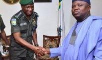 Lagos State Governor, Ambode (r) welcoming Inspector General of Police, Idris Ibrahim to Lagos