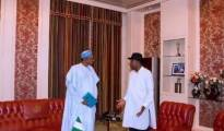 President Buhari and Ex-President Goodluck Jonathan in Presidential Villa today