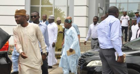 FORMER PRESIDENT/FORMER CHAIRMAN PDP BOARD OF TRUSTEES, CHIEF OLUSEGUN OBASANJO (M), SIGHTED AT THE SHEHU MUSA YAR'ADUA CENTRE, VENUE OF THE INAUGURATION OF PDP NATIONAL CONVENTION COMMITTEE IN ABUJA ON FRIDAY (5/8/16). 5502/5/8/2016/OTU/ICE/NAN