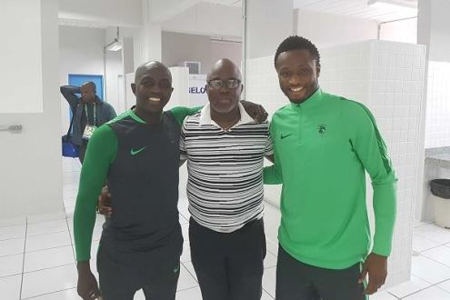 Nigeria 's Olympic football coach Samson Siasia, NFF president and Mikel obi