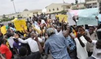 PDP protesters in front of Edo State INEC office