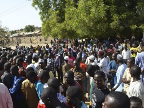 Starving refugees in IDP camp in Borno State