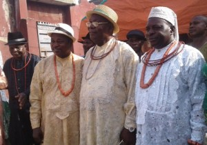 (R-L) Osu Ru Urhobo of Lagos, Chief Awhin,President General of UPU Worldwide, Chief Joe Omene,President of UPU Apapa Branch, Mr Ovie Oghenekaro and Vice President of UPU Apapa branchm Chief Chief Akpofure