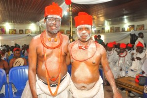 L-R-Chief Johnson Barovbe (The Aghwotu of Urhoboland with Chief (Barr) Jitobo Akanike , legal adviser of Urhobo Social Club, Lagos