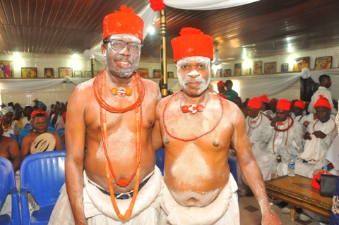 L-R-Chief Johnson Barovbe (The Aghwotu of Urhoboland with Chief (Barr) Jitobo Akanike , legal adviser of Urhobo Social Club, Lagos