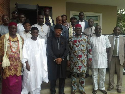 A group Picture on the Visit of the Executive of Ndokwa Neku Union, (NNU), Led by High Chief Johnson Opone, the Member representing Ndokwa/Ukwuani at the Federal House of Representatives, Hon Ossai N. Ossai to the Special Adviser to the President of the Federal Government Amnesty Programme, General Paul Boroh (RTD)