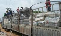 The cannabis being off loaded from Dangote truck