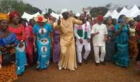 Delta State PDP Chairman, Chief Kingsley Esiso (Centre) celebrating with defectors from Aniocha