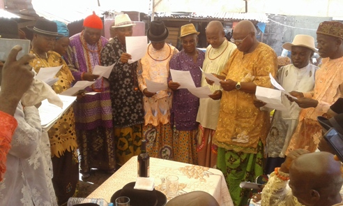Cross section of newly elected members of UPU Apapa branch during swearing in ceremony
