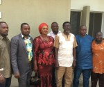 Chief Sunny Onuesoke (Centre) in a group picture with executive of Assoaciation of  Regsiter Political Party (ARPP) during a vist of the group to his office in Warri,