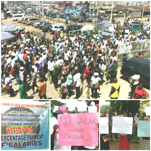 Delta Council workers and teachers protesting non payment of their salaries recently in Warri....