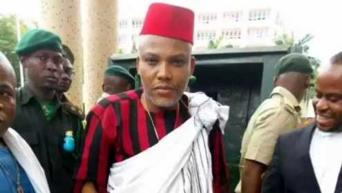 Nnamdi Kanu Shuns Court Order,  Addresses Pro-Biafra Crowd