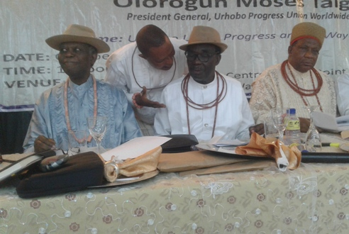 L-R Chief Goodie Ibru, Chief Johnson Barovbe and Olorogun Moses Taiga