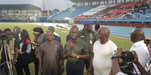 AFCON: Okowa Excited At Super Eagles Training, Promises $25, 000 Per Goal
