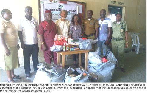 Warri:Malcolm Omirhobo Foundation Creates Succour For Okere Prison,  Donates To Inmates
