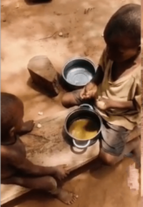 Happening In Delta? This Two Kids Are Spotted Eating Eba With Dirty Water As Soup
