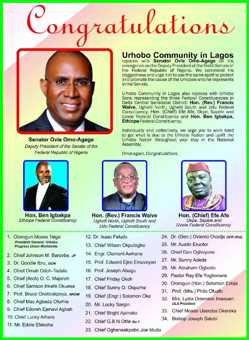 Urhobo Leaders In Lagos Rejoice With Omo-Agege, Others