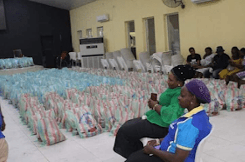 COVID-19: RCCG Parish Warri, Replaces Chair Spaces With Food Packs For Needy