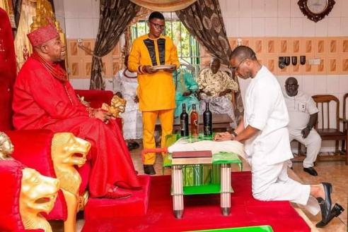 When David Edevbie Visits Idjerhe Monarch, HRM Udurhie 1 (PHOTOS)