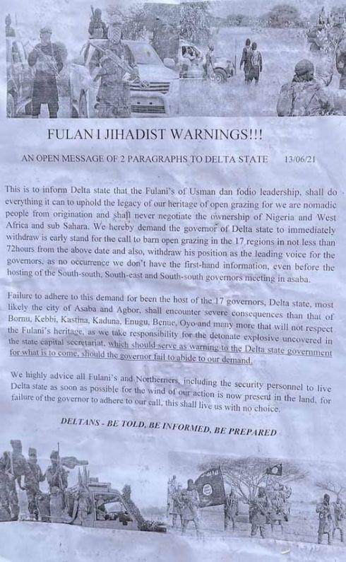 Ban On Open Grazing: Fulani Jihadists Write Okowa, Threaten To Attack Asaba, Agbor