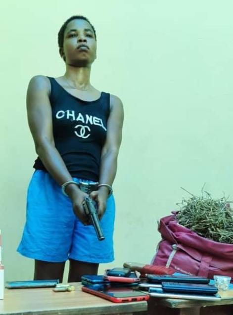 Lady Arrested With  Pistol, Ammunition, Marijuana In Asaba
