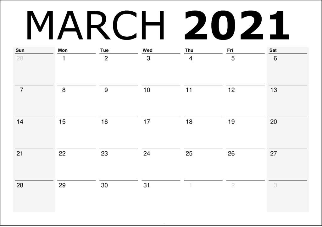 March 2021 Calendar PDF, Excel, Word Templates