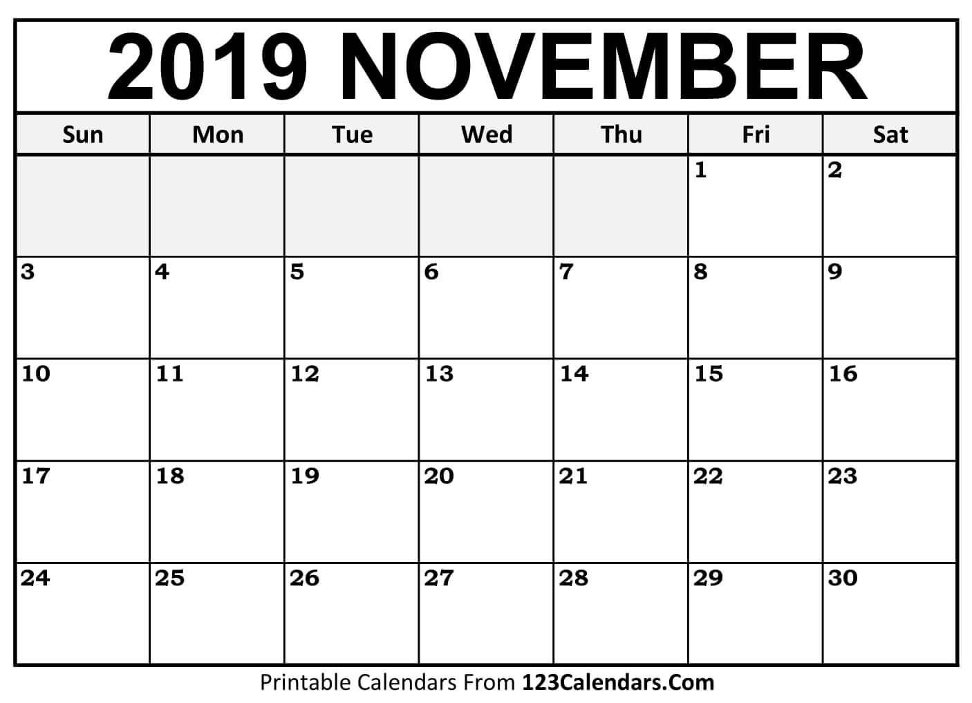 November 2019 Calendar PDF Word Excel Templates