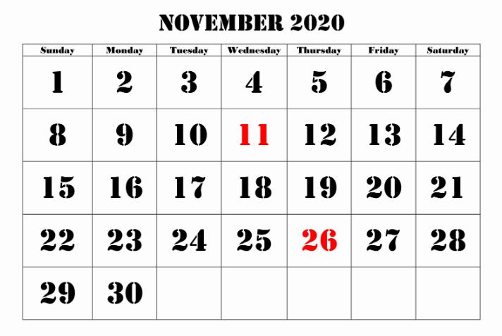Free Blank Monthly 2020 Printable Calendar Template