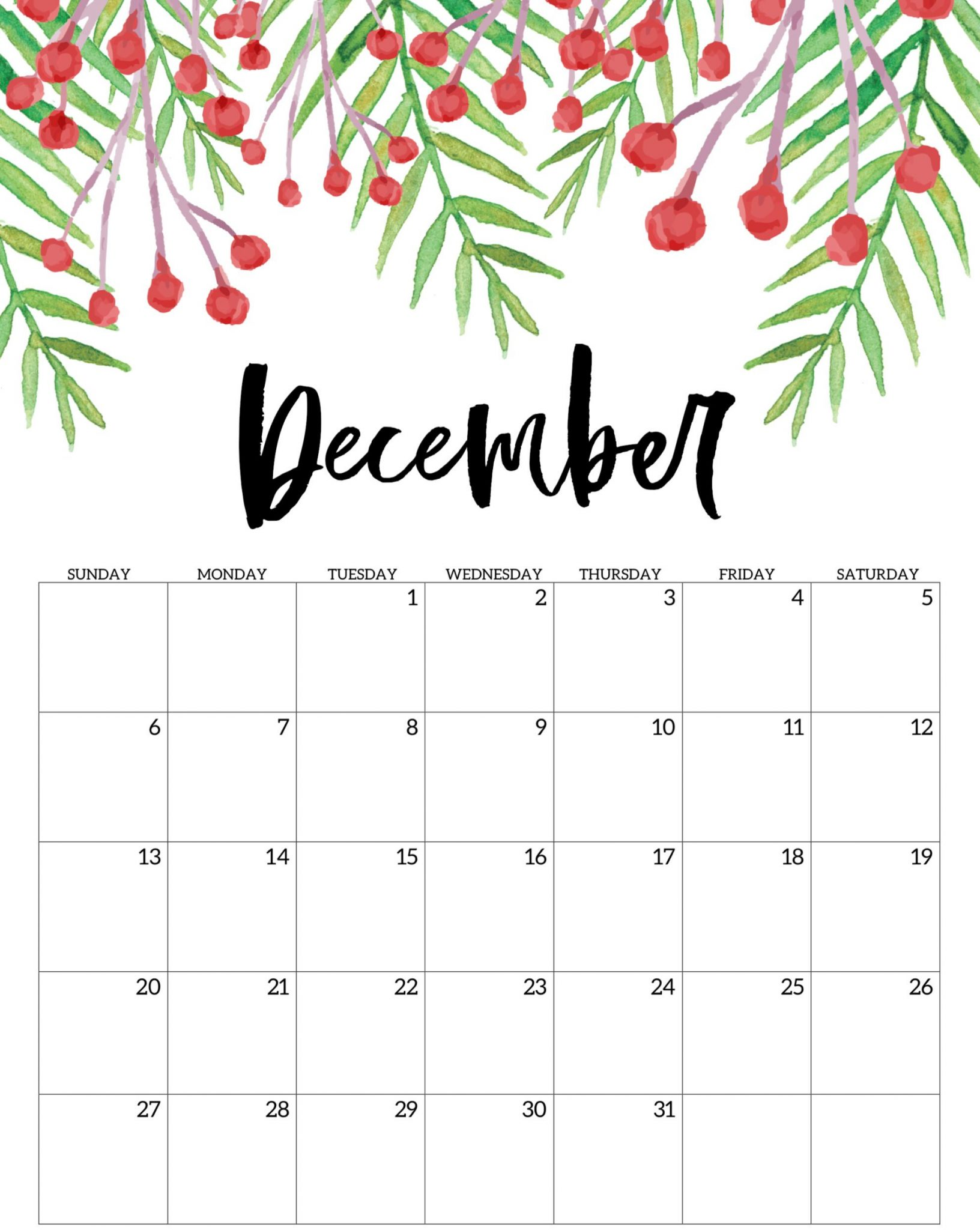 December Calendar Printable Blank Template With